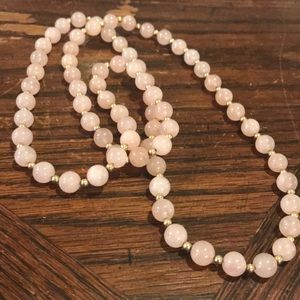 "32"" polished rose quartz necklace"